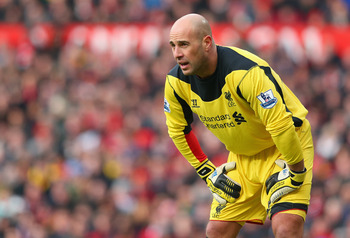 Liverpool goalkeeper Pepe Reina suffered a broken nose at Manchester United over a week ago.
