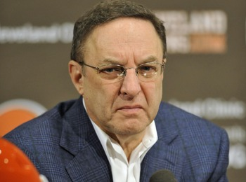 The stern face of Browns CEO Joe Banner who will be watching this Senior Bowl closely