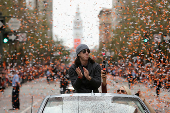 Tim Lincecum enjoying the Giants World Series parade.