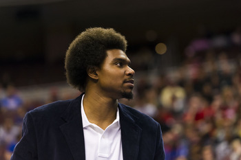 Nov 16, 2012; Philadelphia, PA, USA; Philadelphia 76ers center Andrew Bynum (33) during the third quarter against the Utah Jazz at the Wachovia Center. The Sixers defeated the Jazz 99-93. Mandatory Credit: Howard Smith-USA TODAY Sports