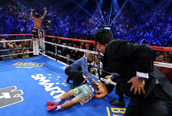 Manny Pacquiao suffers the first knockout loss of his career versus Juan Manuel Marquez.