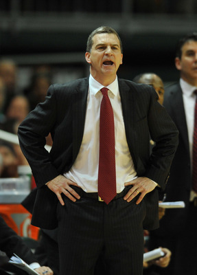 Jan 13, 2013; Coral Gables, FL, USA; Maryland Terrapins head coach Mark Turgeon reacts during the first half against the Miami Hurricanes at the BankUnited Center. Mandatory Credit: Steve Mitchell-USA TODAY Sports