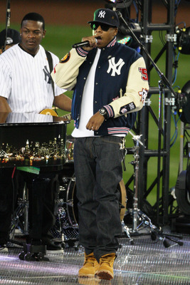 Jay-Z performs before the 2009 World Series at Yankee Stadium.