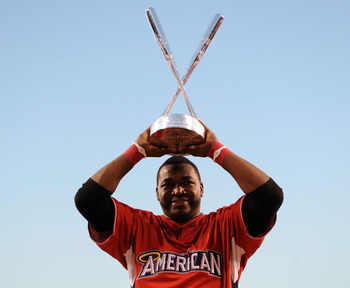 David Ortiz shows off his new hardware after winning the 2010 Home Run Derby.