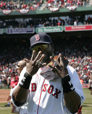 David Ortiz shows off his two World Series rings with the Red Sox.