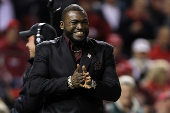 David Ortiz smiles after winning the 2011 Roberto Clemente Award.