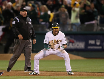 Crisp's clutch play carried all the way into October for the A's in 2012.