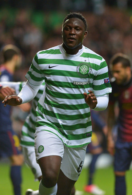 Victor Wanyama celebrates his goal for Celtic against Barcelona in the Champions League this season.