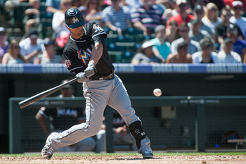 Ruggiano mid-swing in a game August 19, 2012.  Ruggiano went 2 for 4 with a double.