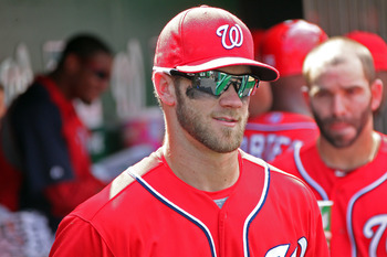 Harper in the dugout during a mid-September game.