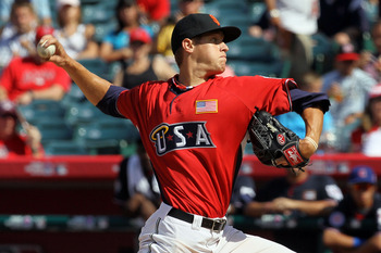 Wheeler pitching at the 2010 XM All-Star Futures Game.  He pitched one shutout inning.
