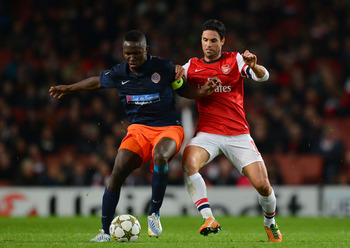 Mapou Yanga-Mbiwa played for Montpellier against Arsenal in the Champions League.