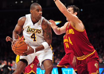 January 13, 2013; Los Angeles, CA, USA; Los Angeles Lakers power forward Antawn Jamison (4) controls the ball against the Cleveland Cavaliers during the second half at Staples Center. Mandatory Credit: Gary A. Vasquez-USA TODAY Sports
