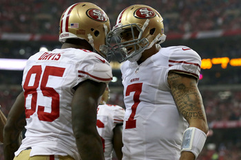 Vernon Davis and Colin Kaepernick celebrate after they connect for a touchdown.