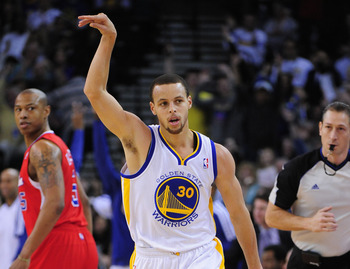 Stephen Curry leads the NBA in three-point percentage.