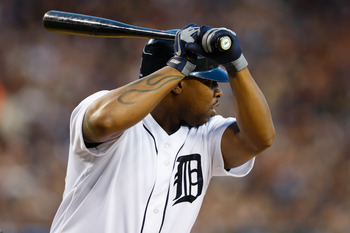 Oct 18, 2012; Detroit, MI, USA; Detroit Tigers designated hitter Delmon Young (21) at bat during game four of the 2012 ALCS against the New York Yankees at Comerica Park.  Mandatory Credit: Rick Osentoski-USA TODAY Sports