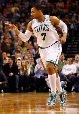 BOSTON, MA - JANUARY 4:  Jared Sullinger #7 of the Boston Celtics celebrates after making a shot against the Indiana Pacers during the game on January 4, 2013 at TD Garden in Boston, Massachusetts. NOTE TO USER: User expressly acknowledges and agrees that