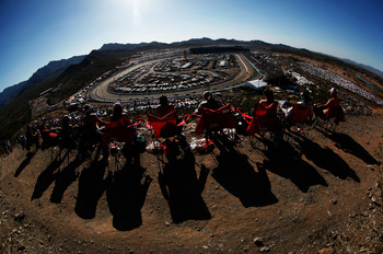 What other track has a small mountain just outside Turns 3 and 4? PIR does.