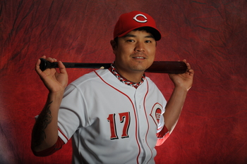 GOODYEAR, AZ - FEBRUARY 16:   Shin-Soo Choo #17 of the Cincinnati Reds poses during MLB photo day on  February 16, 2013 at the Goodyear Ballpark in Goodyear, Arizona. (Photo by Rich Pilling/Getty Images)