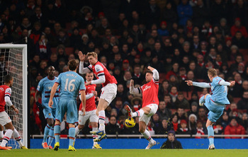 There was little Arsenal's defence could do about Jack Collison's strike on goal.