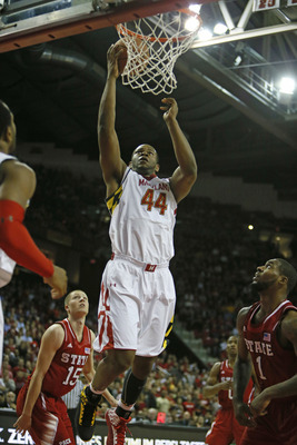 Jan 16, 2013; College Park, MD, USA; Maryland Terrapins center Shaquille Cleare (44) drives to the basket against the North Carolina State Wolfpack at the Comcast Center. Mandatory Credit: Mitch Stringer-USA TODAY Sports