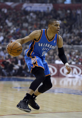 Jan 22, 2013; Los Angeles, CA, USA; Oklahoma City Thunder point guard Russell Westbrook (0) looks to drive against the Los Angeles Clippers during the game at the Staples Center. Mandatory Credit: Richard Mackson-USA TODAY Sports