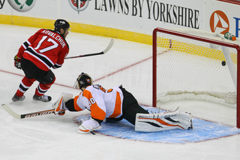 Kovalchuk burying a penalty shot against Philadelphia's Ilya Bryzgalov Tuesday night.