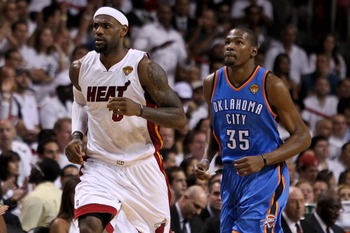 Jun 17, 2012; Miam, FL, USA; Miami Heat small forward LeBron James (6) and Oklahoma City Thunder small forward Kevin Durant (35) during the first quarter in game three in the 2012 NBA Finals at the American Airlines Arena. Mandatory Credit: Derick E. Hing