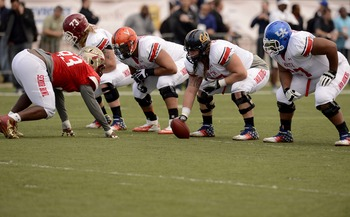 Chadron State offensive guard Garrett Gilkey at the Senior Bowl (far left)