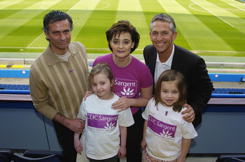 LONDON - APRIL 22:   Jose Mourinho, Cherie Blair and Gary Lineker poses with children from the CLIC Sargent charity as Chelsea annouce their involvement in the CLIC Sargent cancer charity, at Stamford Bridge on April 22, 2005 in London, England  (Photo by
