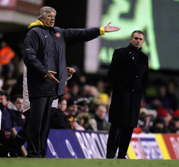 LONDON - DECEMBER 18:  Arsenal Manager Arsene Wenger (L) and Chelsea Manager Jose Mourinho (R) give instructions from the sidelines during the Barclays Premiership match between Arsenal and Chelsea at Highbury on December 18, 2005 in London, England.  (Ph