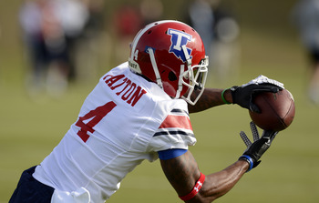 Louisiana Tech's Quinton Patton snares in this pass with his excellent hands.