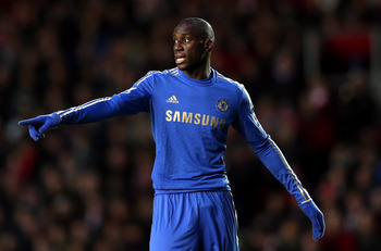 SOUTHAMPTON, ENGLAND - JANUARY 05:  Demba Ba of Chelsea gives instructions during the FA Cup Third Round match between Southampton and Chelsea at St Mary's Stadium on January 5, 2013 in Southampton, England.  (Photo by Julian Finney/Getty Images)