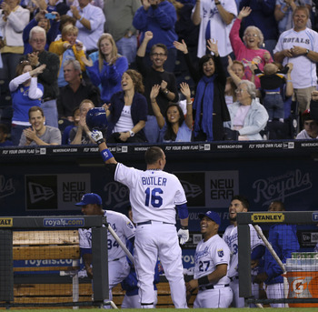 While Eric Hosmer is Kansas City's primary first baseman, Billy Butler played twenty games at the position in 2012—just enough to qualify there in most fantasy leagues.