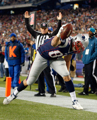FOXBORO, MA - NOVEMBER 18:  Rob Gronkowski #87 of the New England Patriots celebrates his touchdown against  the Indianapolis Colts into the end zone for a touchdown in the first half at Gillette Stadium on November 18, 2012 in Foxboro, Massachusetts. (Ph