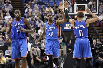 Oklahoma City Thunder's Perkins, Durant, Westbrook