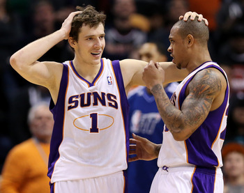Phoenix Suns' Goran Dragic, Shannon Brown