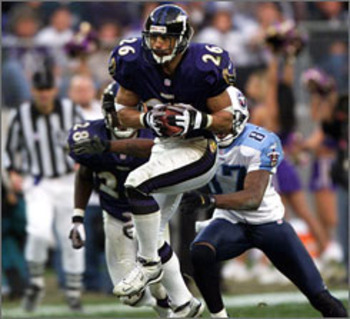 Rod Woodson was the leader of the 2000 Baltimore secondary, picking off four passes.