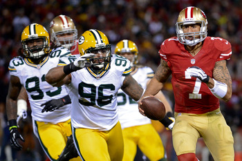 Colin Kaepernick is off to the races versus Green Bay in playoffs.
