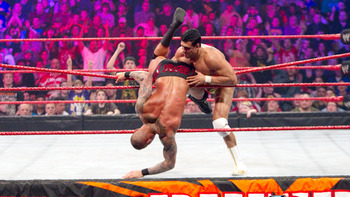 Alberto Del Rio capitalizing on Randy Orton's hubris in 2011 (Image Obtained From WWE.com)