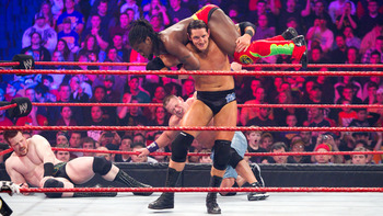 Wade Barrett looked dominant here but was quickly eliminated (Image Obtained From WWE.com)