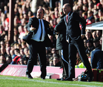Rafa Benitez urges his team on against Brentford from the sidelines