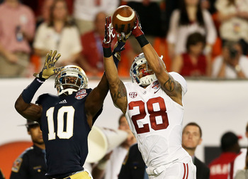 Alabama cornerback No. 28, Dee Milliner during the 2012 BCS Championship Game