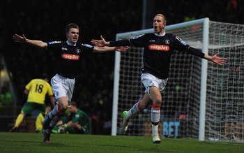 Scott Rendell scored the only goal for Luton against Premier League side Norwich on Saturday.