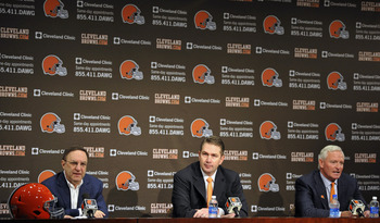 CEO Joe Banner, head coach Rob Chudzinski and owner Jimmy Haslam III