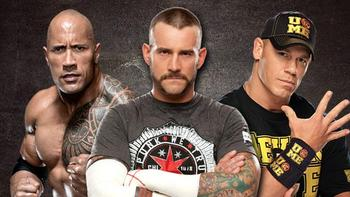 The Rock, CM Punk and John Cena advertised as competitors for WWE's Elimination Chamber.  Photo courtesy of wwe.com