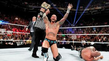 CM Punk believing he retained the WWE title before Vince McMahon restarted the match.  Courtesy of wwe.com