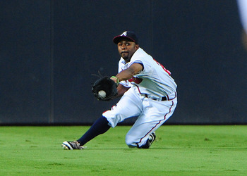 Bourn making a nice defensive play in a mid-August game.