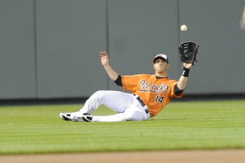 Reimold making a sliding catch in a mid-April game.