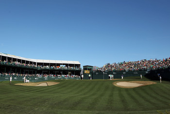 "The 16th hole creates an ""arena golf"" setting."